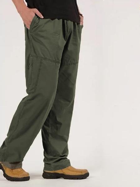 Yoins Men Loose Cotton Cargo Straight Leg Work Casual Pants