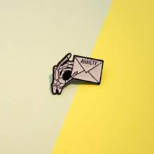 Skeleton Hand Envelope Brooch