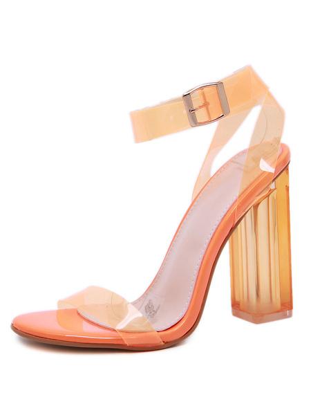 Milanoo Sandalias de tacon alto Sandalias de tacon grueso con punta abierta Zapatos de sandalia transparentes