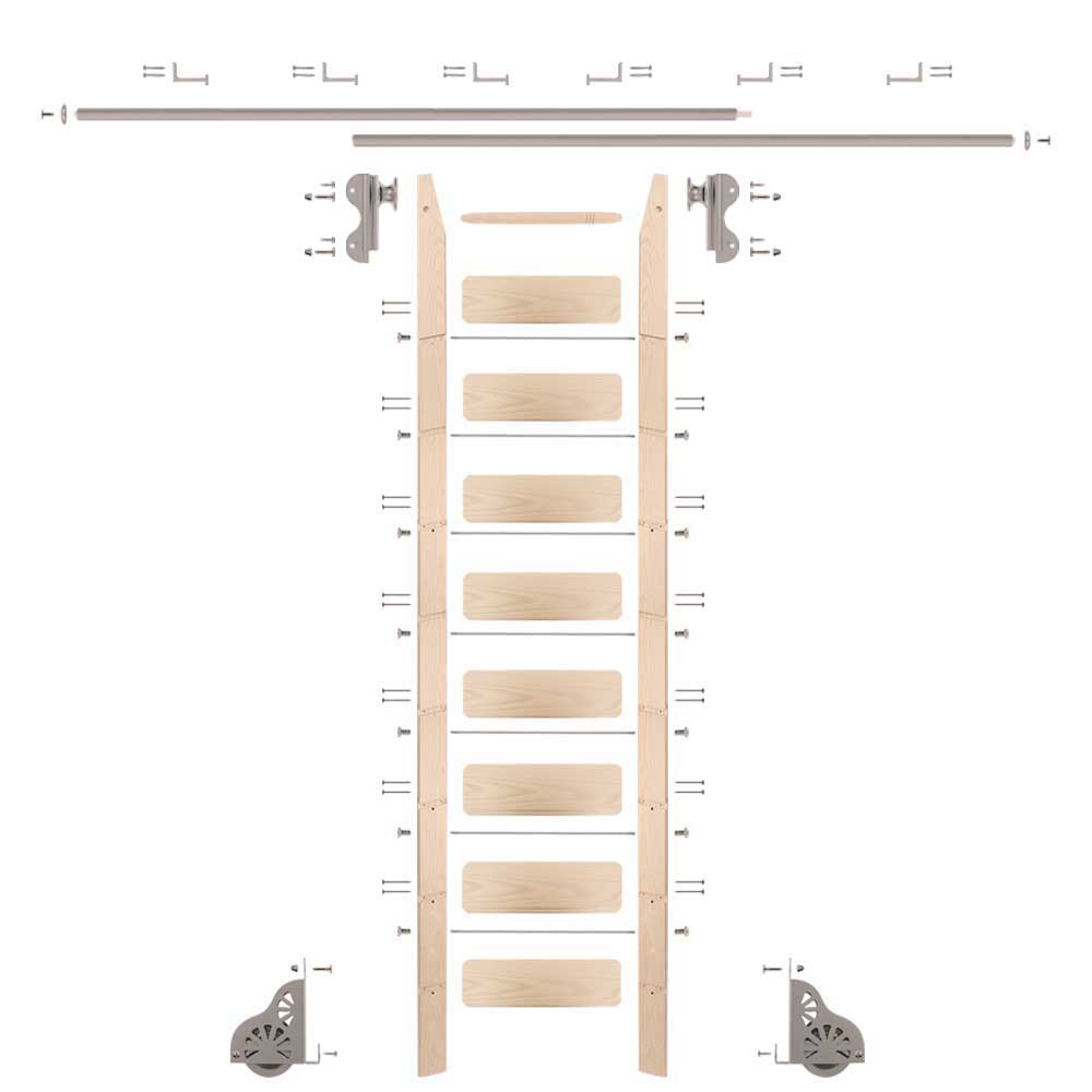 Rolling Hook 9-Foot Maple Ladder Kit with 12-Foot Rail and Horizontal Brackets, Satin Nickel