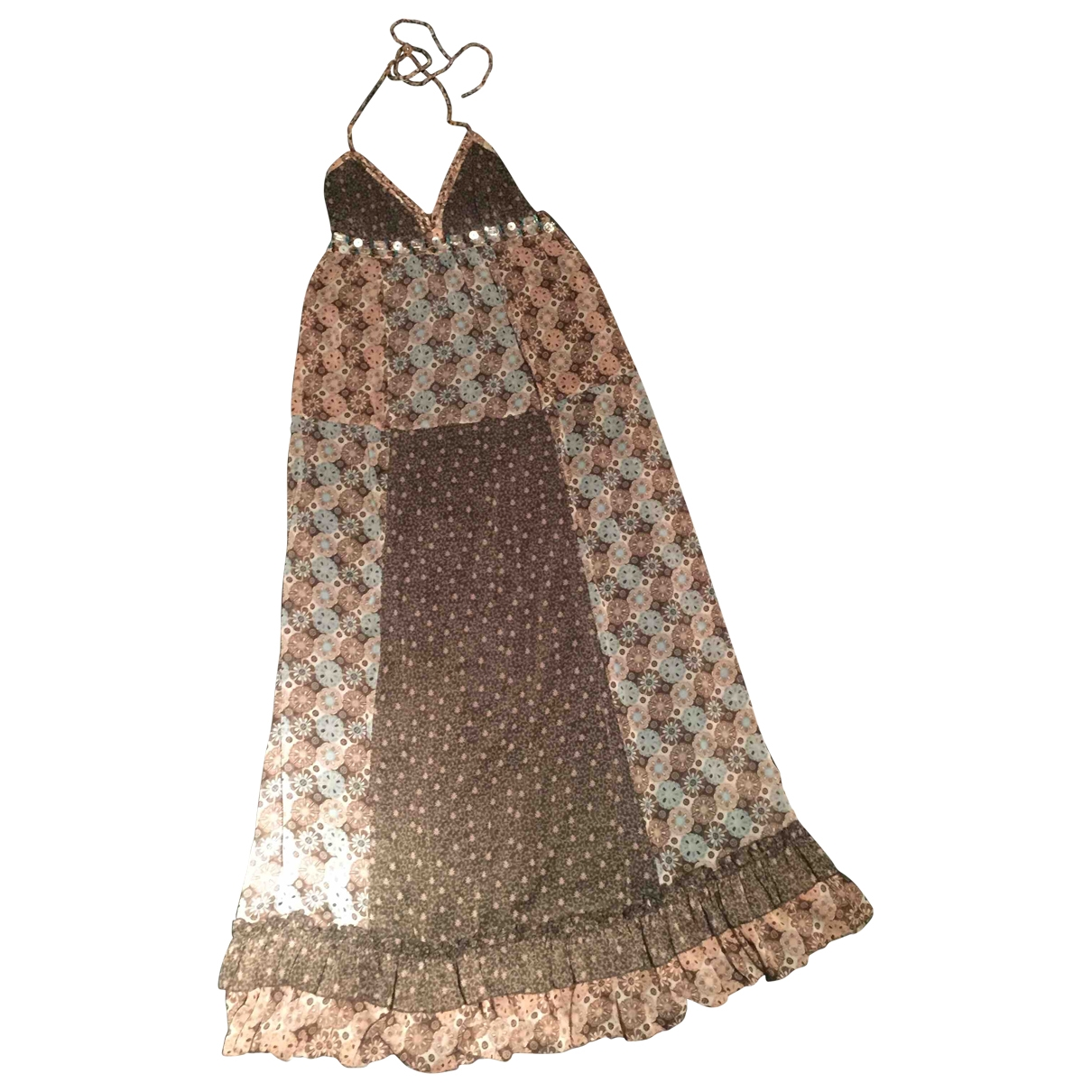 Non Signé / Unsigned Hippie Chic Brown dress for Women 42 IT