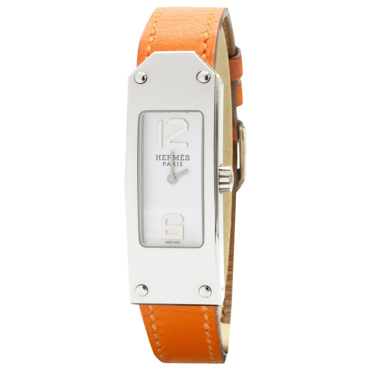 Hermes Kelly II Uhr in  Orange Stahl