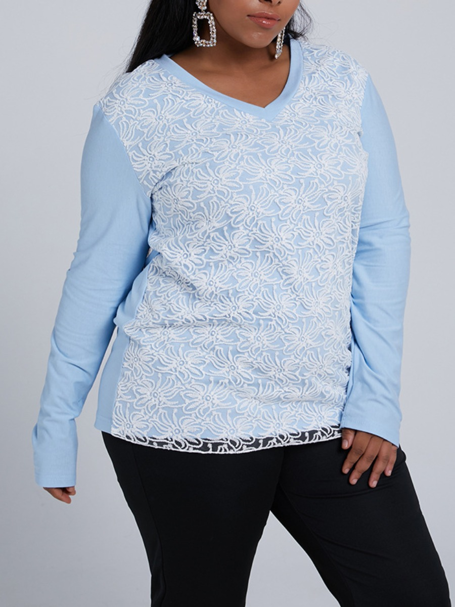 LW lovely Trendy V Neck Patchwork Baby Blue Plus Size Hoodie