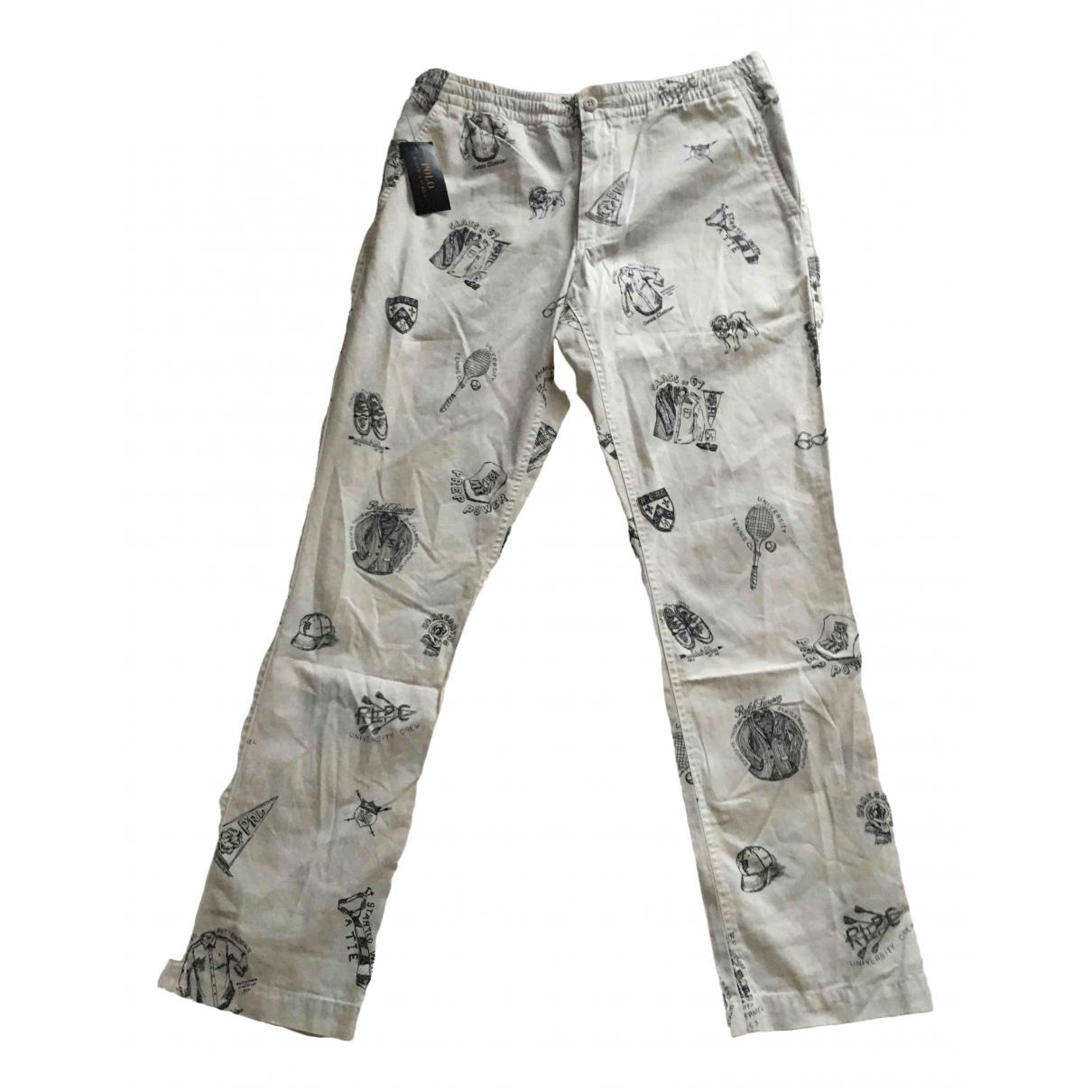 Pantalones en Algodon Blanco Polo Ralph Lauren