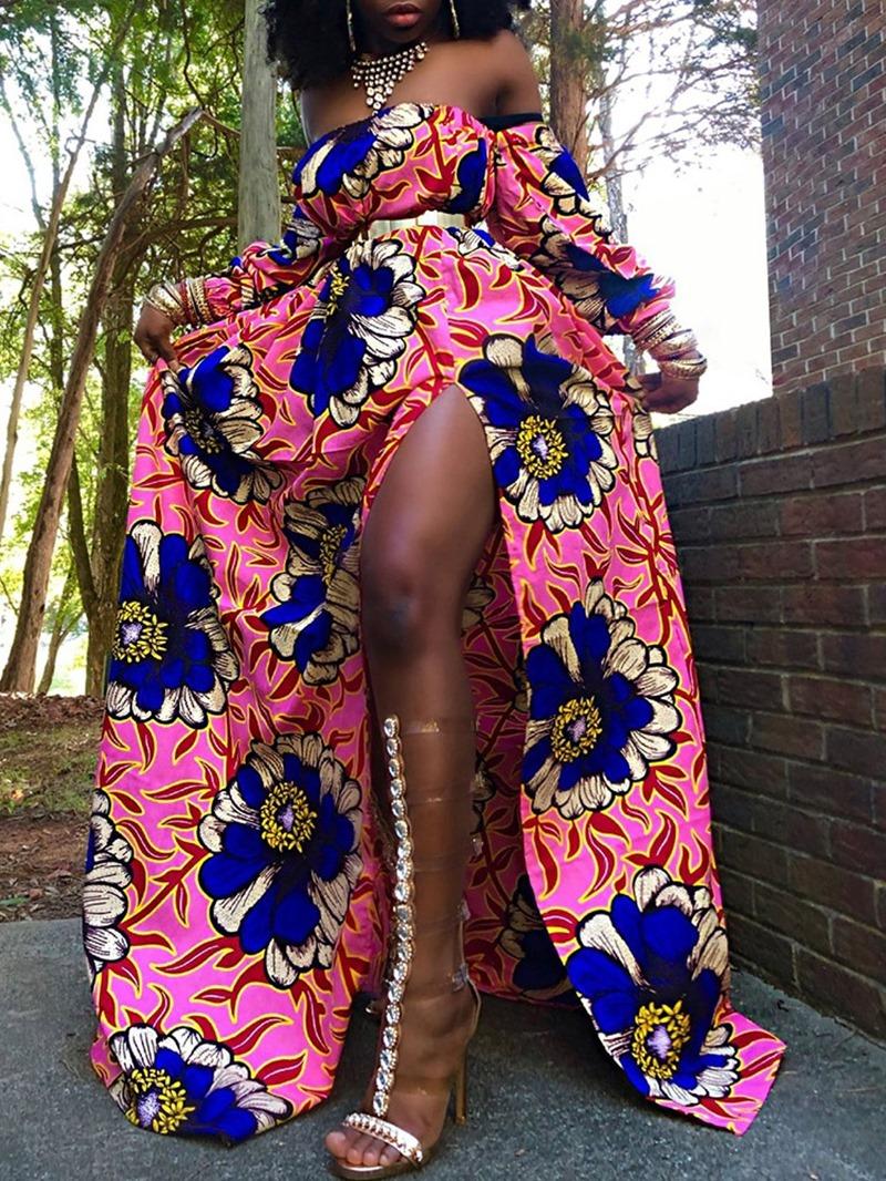 Ericdress Lace-Up Floor-Length Nine Points Sleeve Cold Shoulder High Waist Dress