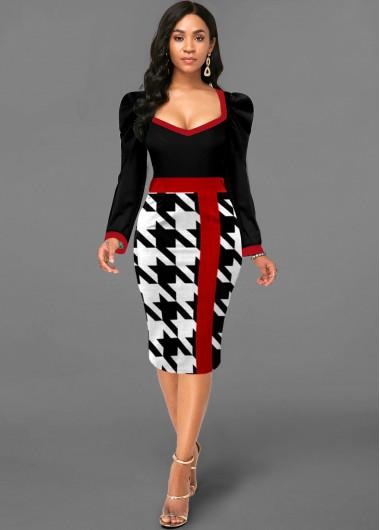 Black Dresses Contrast Houndstooth Print Puff Sleeve Dress - XL