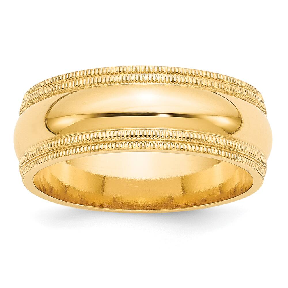 14 Karat Yellow Gold 8mm Double Milgrain Comfort Fit Band by Versil (12)