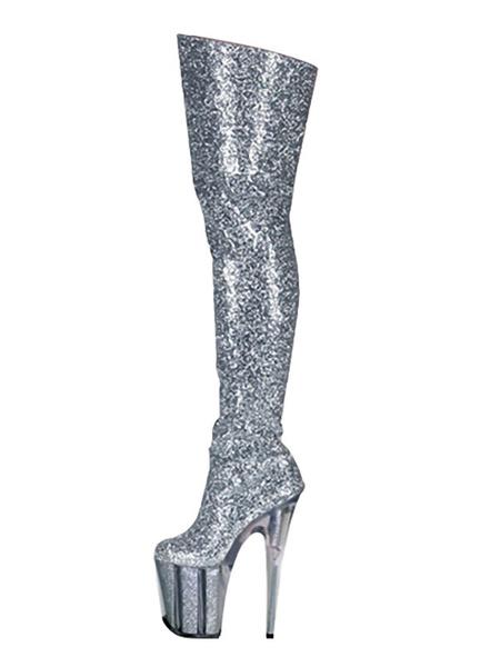 Milanoo Botas sexys para mujer, punta redonda, cremallera, tacon de aguja, Rave Club, botas altas de muslo de plata, zapatos de stripper