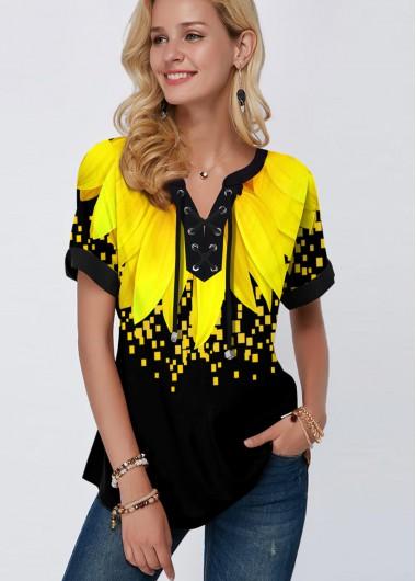 Lace Up Short Sleeve Sunflower Print Blouse - L
