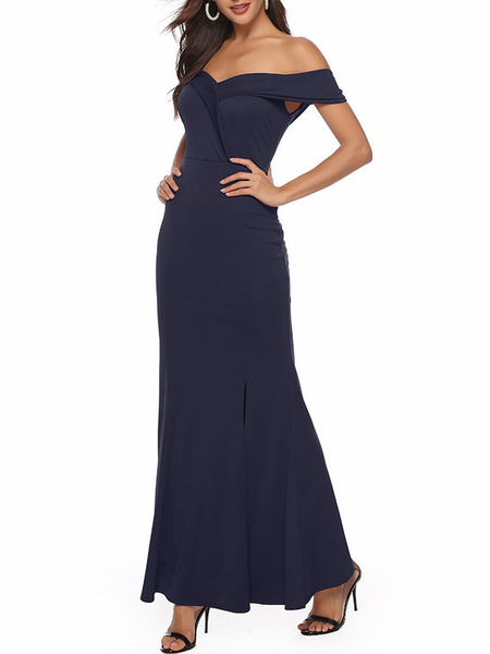 Milanoo Maxi Dress Sleeveless Dark Navy Off-The-Shoulder Split Front Layered Nylon Floor Length Dress