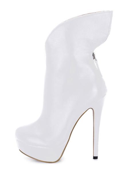 Milanoo Botines negros mujer botines mujer negro Botas de tacon de stiletto Zapatos de puntera redonda 14cm de PU Invierno Cremallera para baile sexy