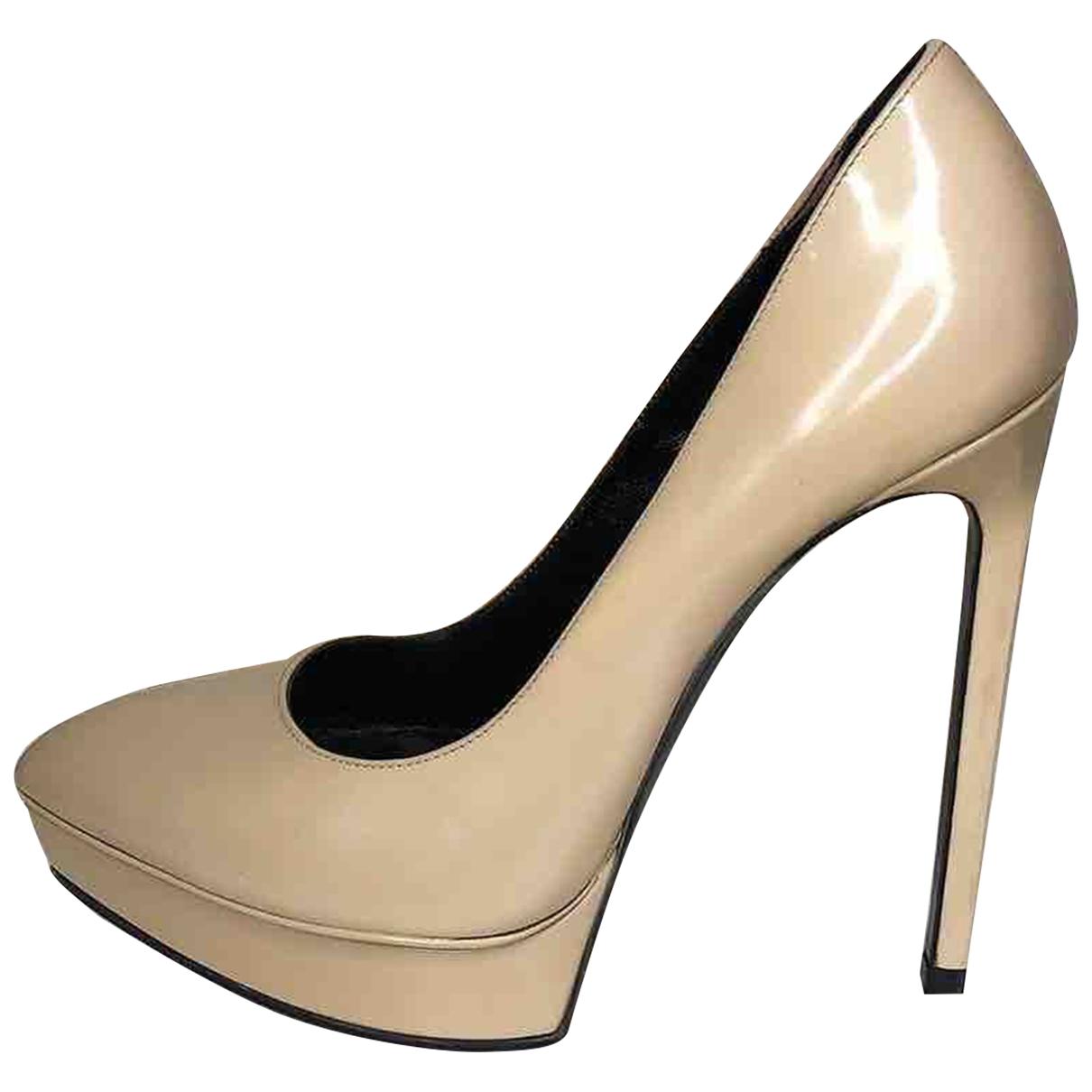 Saint Laurent - Escarpins Janis pour femme en cuir verni - beige