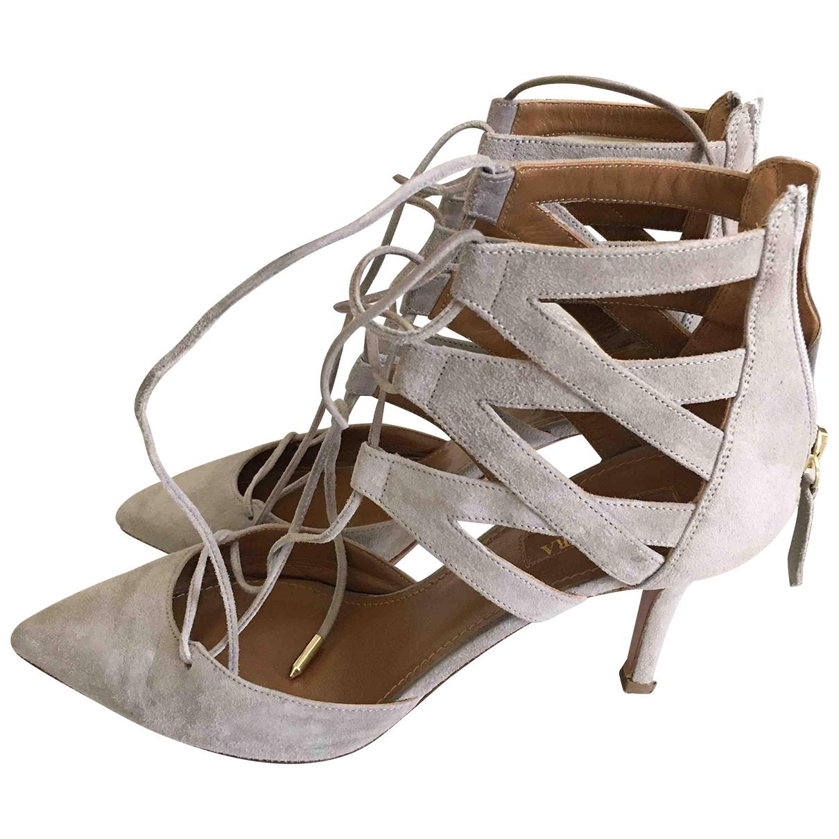 Aquazzura - Sandales   pour femme en suede - gris