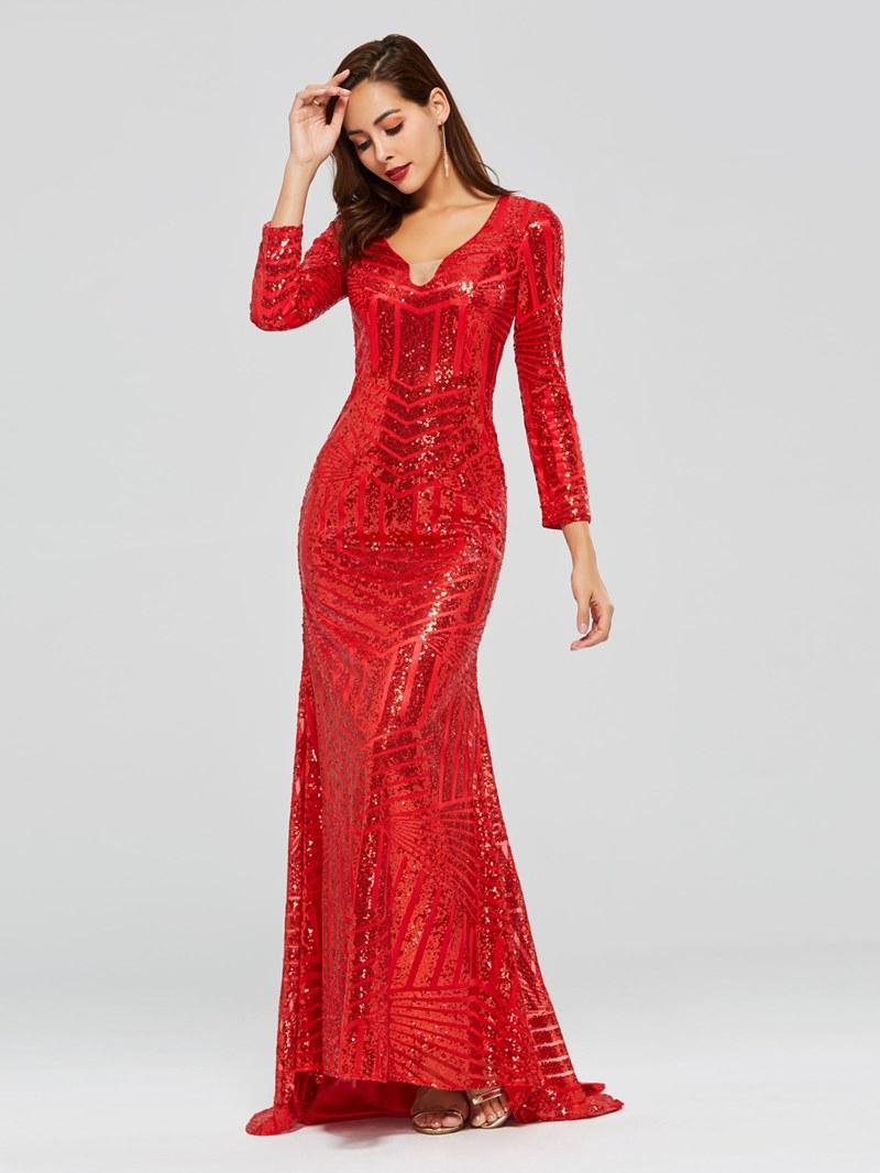 Ericdress Long Sleeve Mermaid Red Sequins Evening Dress
