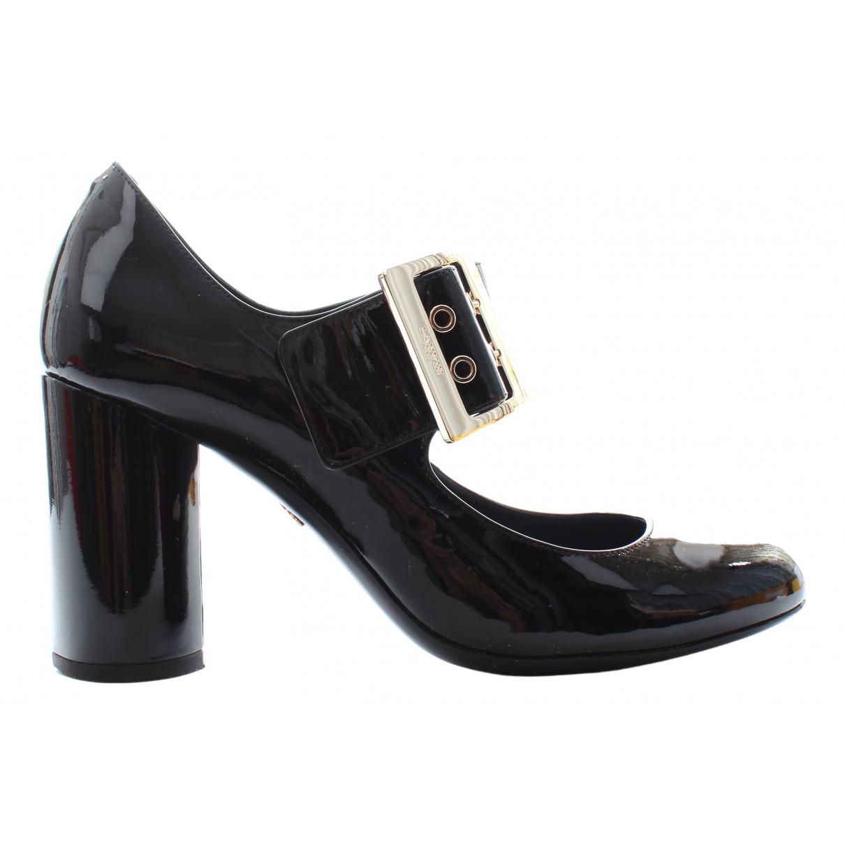 Lanvin N Black Leather Heels for Women 38 EU