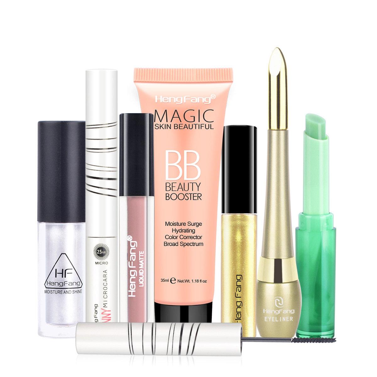 7Pcs Lipstick Makeup Set Lasting Lip Gloss Mascara Eyeliner BB Cream Kit Waterproof Makeup Kit