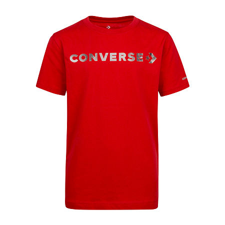 Converse Big Boys Crew Neck Short Sleeve Graphic T-Shirt, Large (14-16) , Red