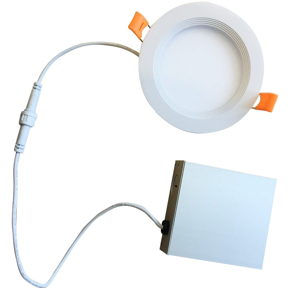 Bulbrite Pack of (2) LED 3 Round Recessed Downlight Fixture with Metal Jbox & Baffle, 50W Equivalent (Warm White 2700K - 3000K - White Finish)