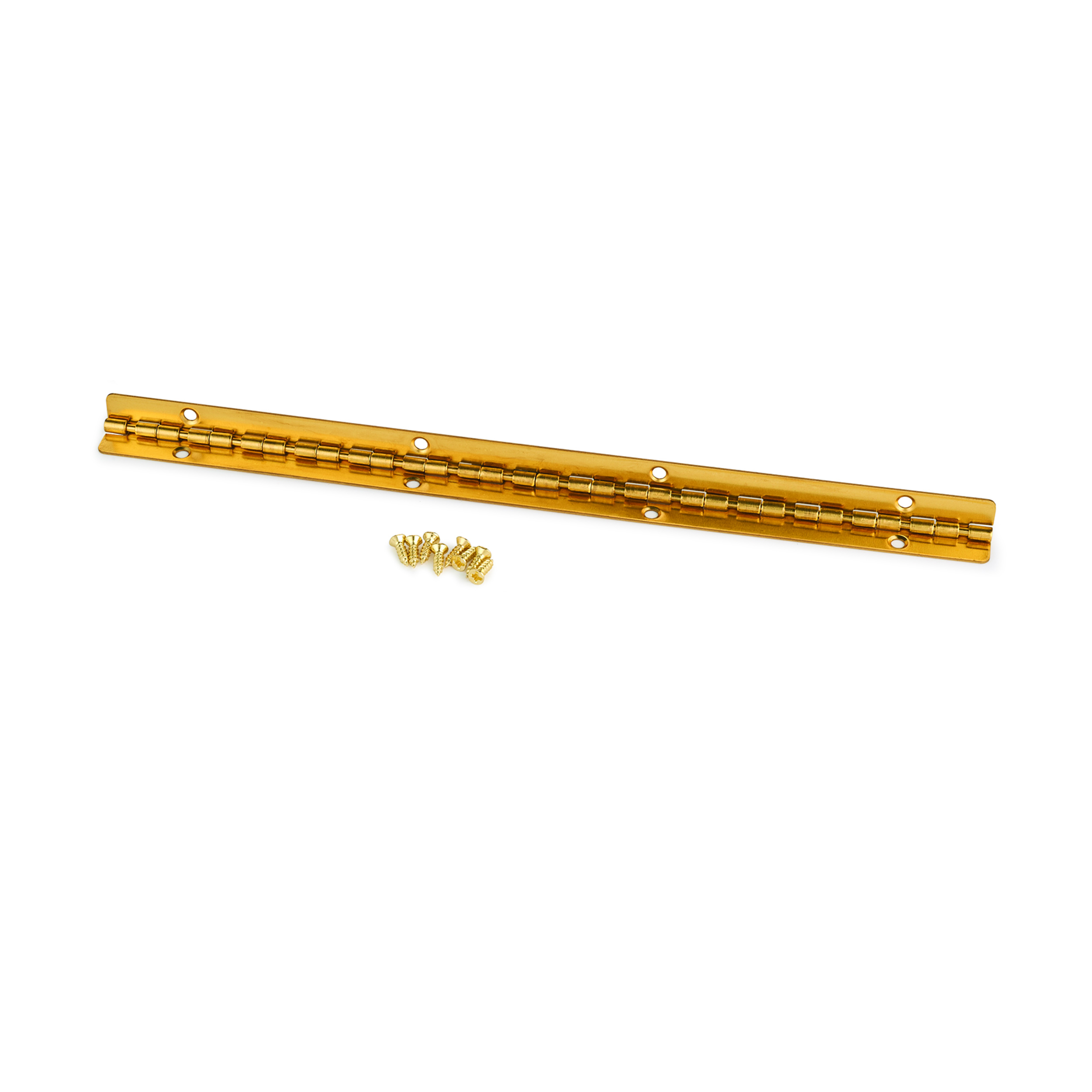 Small Piano Stop Hinge Brass Plated 200mm x 9mm