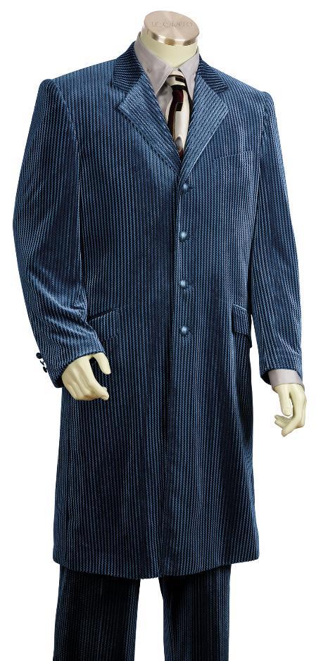 4 Button Navy Velvet Suit 45 Inch Long Jacket Mens