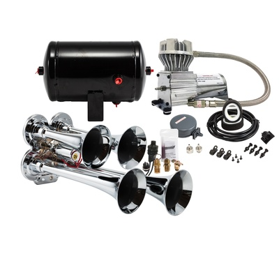 Kleinn Train Horns Complete Quad Air Horn Package with 130 PSI Sealed Air System - HK4