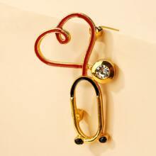 Rhinestone Decor Stethoscope Design Brooch