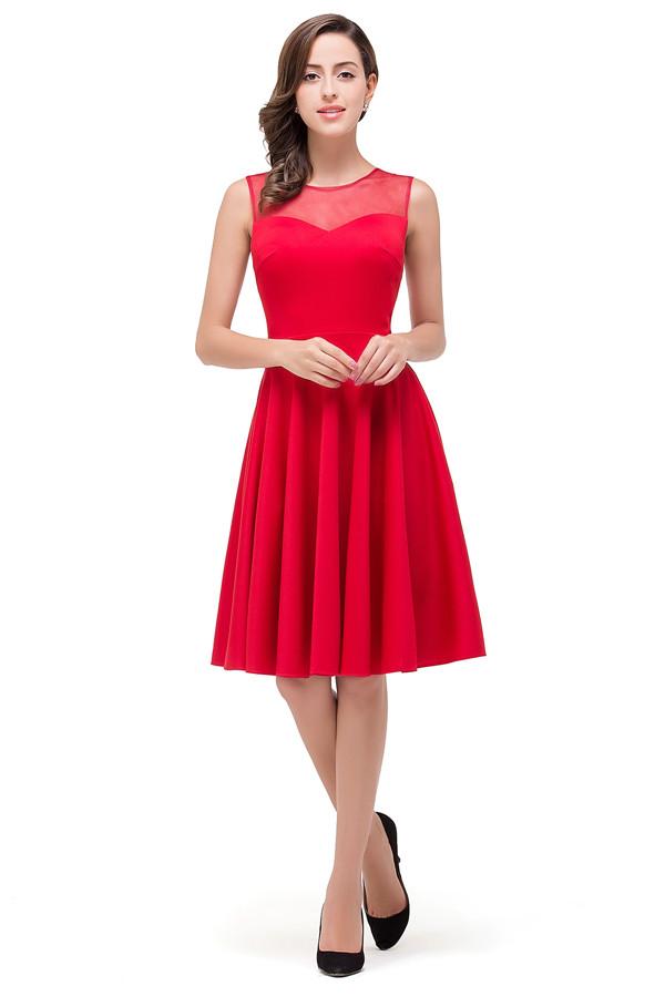 HARMONY | A-line Crew Knee-length Red Bridesmaid Dresses