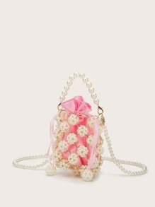 Mini Hollow Out Faux Pearl Beaded Bucket Bag