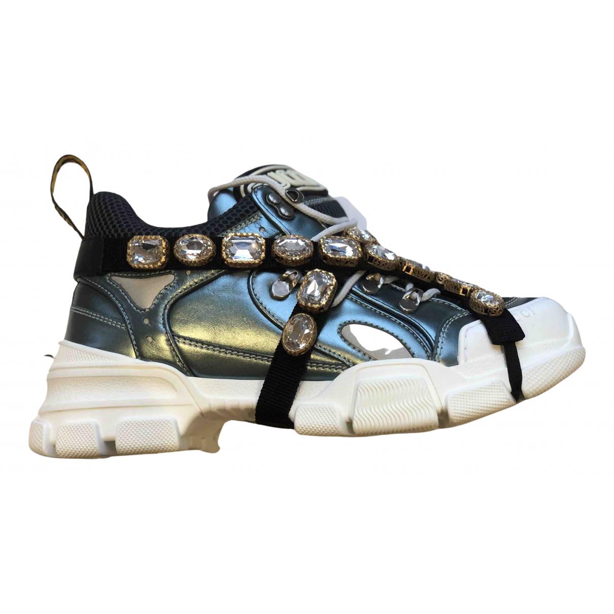 Gucci - Baskets Flashtrek pour femme en cuir - metallise