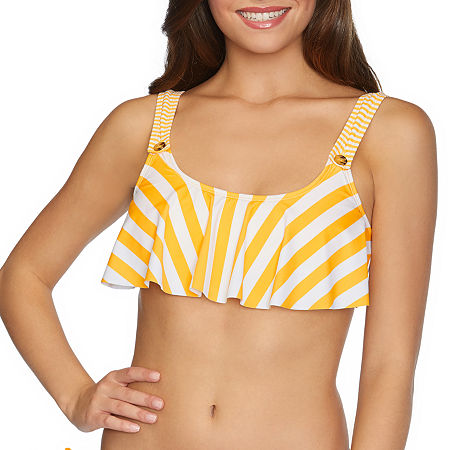 Arizona Striped Flounce Bikini Swimsuit Top Juniors, Large , Yellow