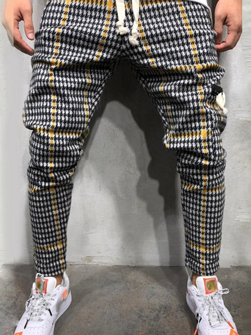 Ericdress Pocket Thin Color Block Mid Waist Mens Casual Pants