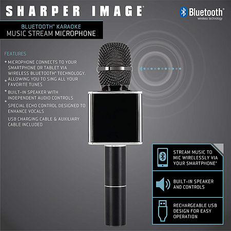 Sharper Image Musical Microphone Bluetooth Broadcaster, One Size , Black