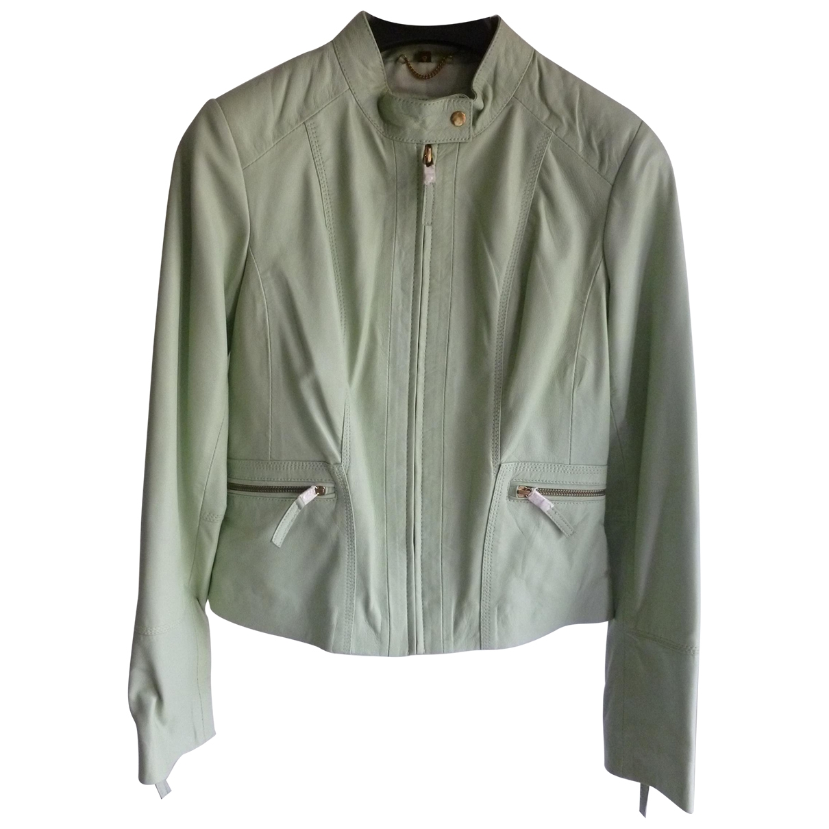 Non Signé / Unsigned \N Green Leather Leather jacket for Women 40 IT