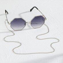 1 pieza gafas de sol de hombres con montura hexagona con 1 pieza cadena