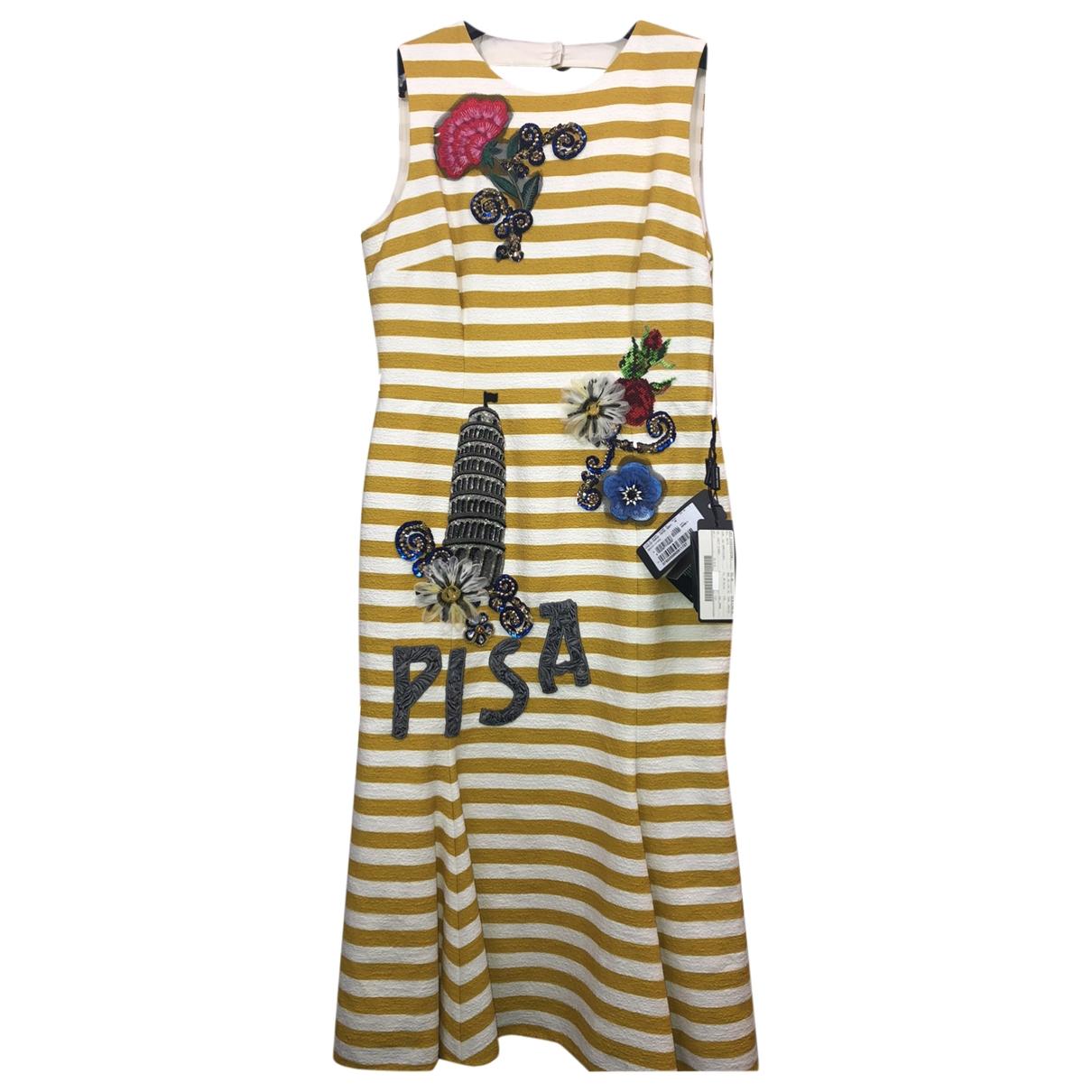 Dolce & Gabbana \N Kleid in  Gelb Baumwolle