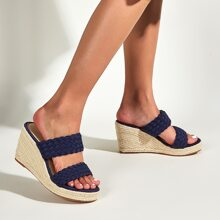 Braided Double Band Espadrille Wedge Mules