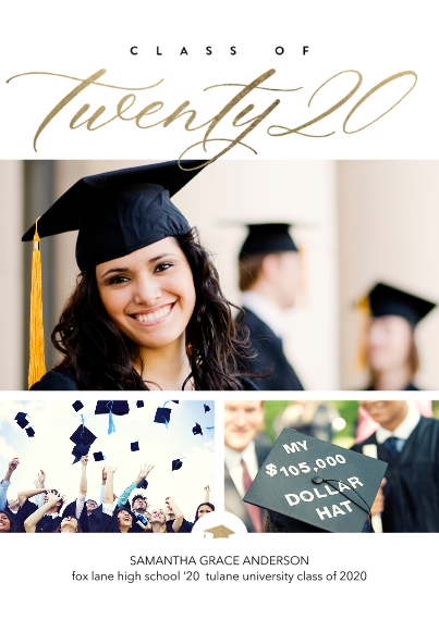 Graduation Announcements 5x7 Cards, Premium Cardstock 120lb with Scalloped Corners, Card & Stationery -Class of Twenty 20 Script by Tumbalina