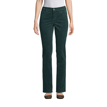 St. John's Bay Womens Mid Rise Straight Corduroy Pant, 16 Petite , Green