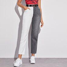 Jeans mit Farbblock ohne Guertel