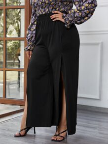 Plus Split Thigh Elastic Waist Palazzo Pants
