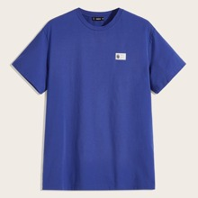 Men Patched Detail Solid Tee