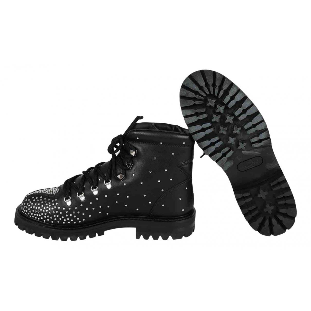 Valentino Garavani N Black Leather Ankle boots for Women 37 EU