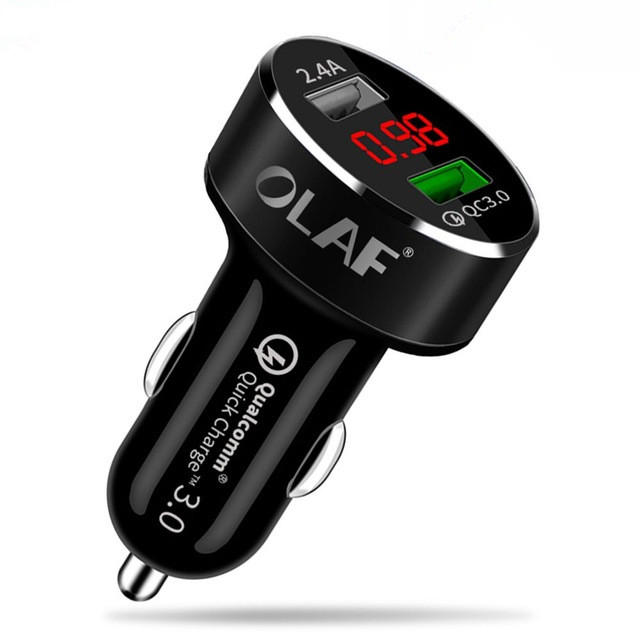 OLAF Car USB Charger Quick Charge 3.0 2.0 Mobile Phone Charger 2 Port USB Fast Car Charger for Samsung Xiaomi Tablet Cha