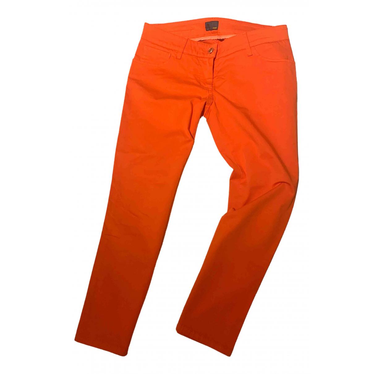 Fendi \N Orange Cotton Trousers for Women 40 IT