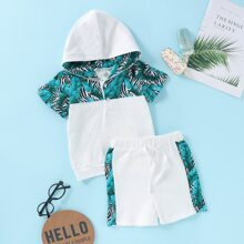 Toddler Boys Tropical Print Pocket Hoodie With Shorts