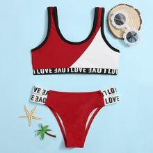 Girls Two Tone Letter Tape Bikini Swimsuit