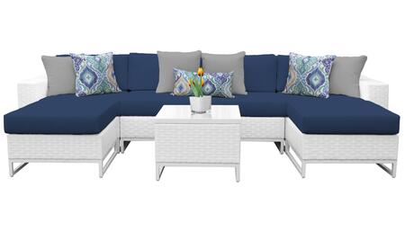 Miami MIAMI-07b-NAVY 7-Piece Wicker Patio Furniture Set 07b with 2 Armless Chairs  2 Ottomans  1 End Table  1 Left Arm Chair and 1 Right Arm Chair -