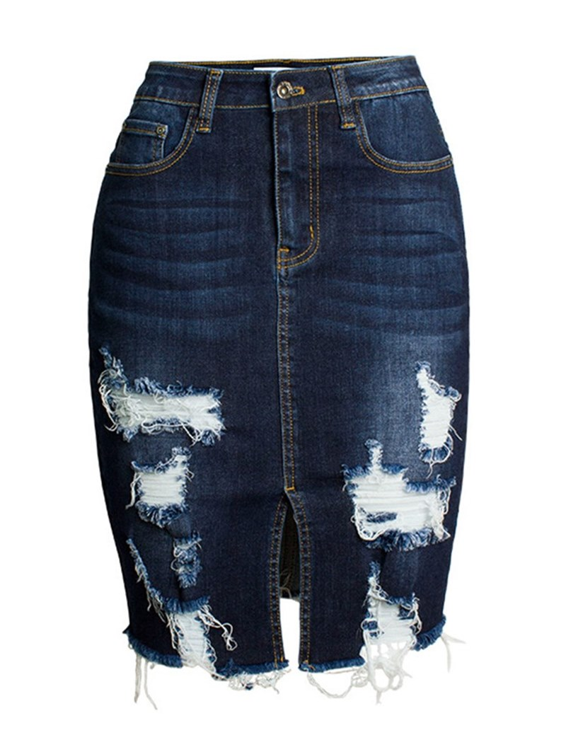 Ericdress Bodycon Hole Plain Women's Skirt