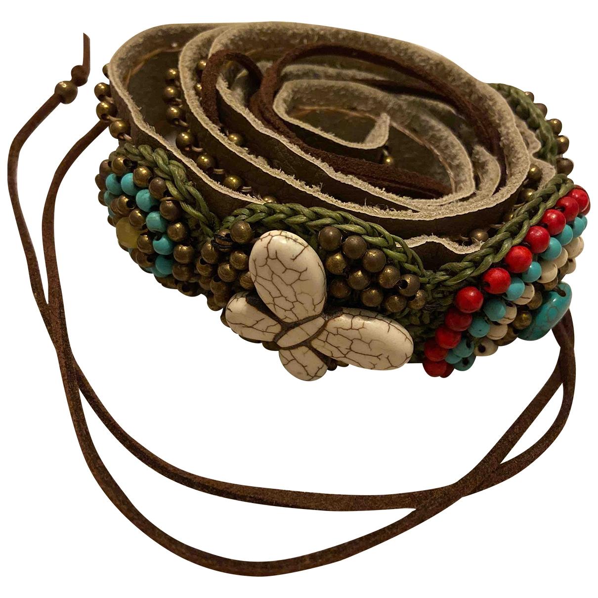 Cinturon Motifs Coquillages de Cuero Non Signe / Unsigned