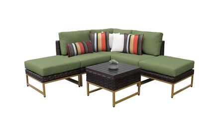 Barcelona BARCELONA-06b-GLD-CILANTRO 6-Piece Patio Set 06b with 1 Corner Chair  2 Armless Chairs  2 Ottomans and 1 End Table - Beige and Cilantro